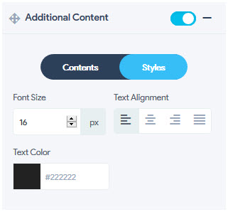 Container Additional Content - Styles