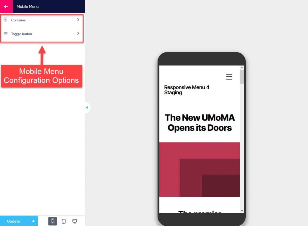 Mobile Menu Configuration Options